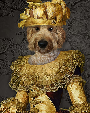The Charming Queen Custom Pet Portrait Poster - Noble Pawtrait