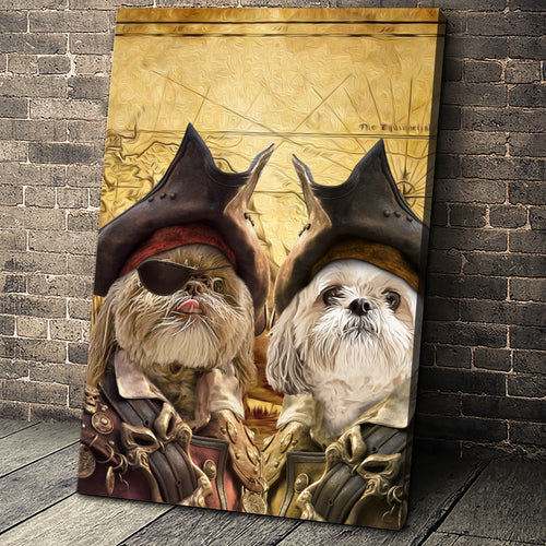 The Duo Pirates Custom Pet Portrait - Noble Pawtrait