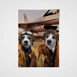 The Duo Pilots Custom Pet Portrait Poster - Noble Pawtrait