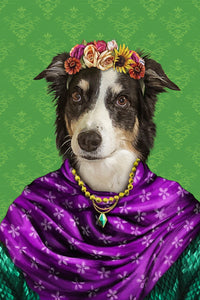 The Floral Custom Pet Portrait - Noble Pawtrait