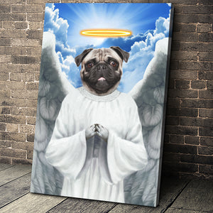 The Flying Angel Custom Pet Portrait Canvas - Noble Pawtrait