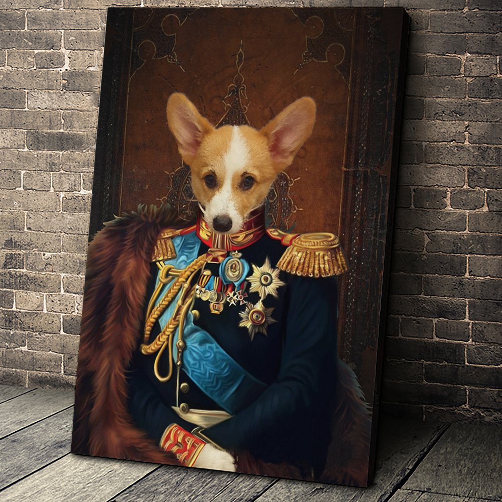 The General Custom Pet Portrait Canvas - Noble Pawtrait