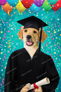 Graduation Paw Custom Pet Portrait Digital Download - Noble Pawtrait