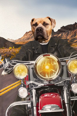 Harley-Pawson Rider Custom Pet Portrait Digital Download - Noble Pawtrait