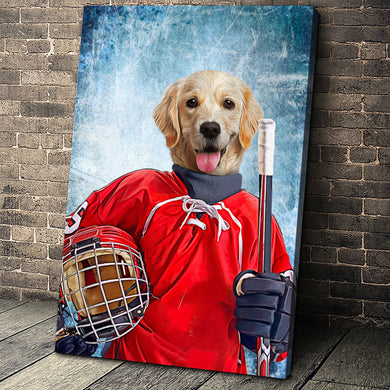 The Ice Hockey Player Custom Pet Portrait - Noble Pawtrait