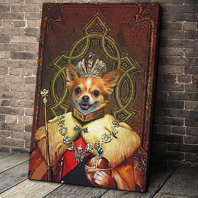 The King Custom Pet Portrait Canvas - Noble Pawtrait