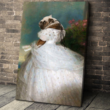 Load image into Gallery viewer, Lady in White Custom Pet Portrait Canvas - Noble Pawtrait