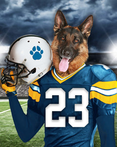 Los Angeles Chargers Fan Custom Digital Download Pet Portrait - Noble Pawtrait