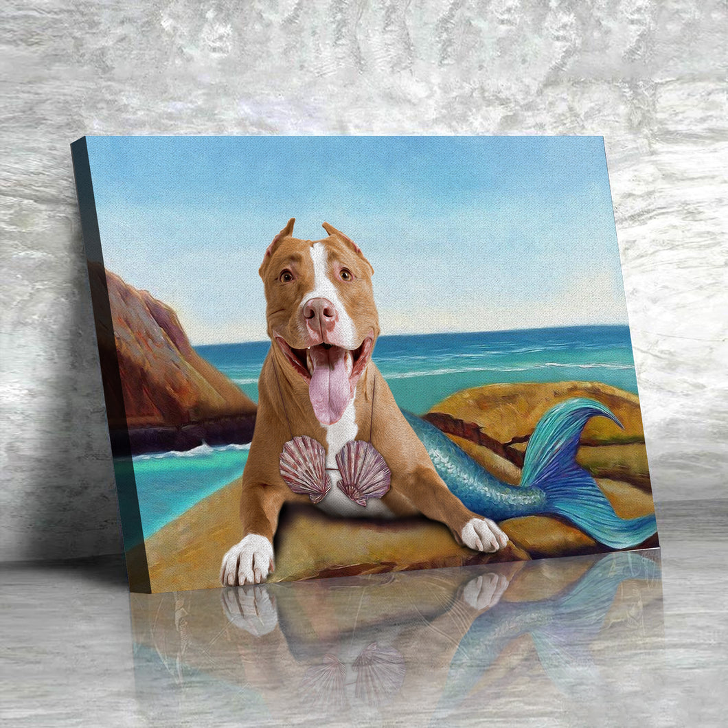 The Mermaid Custom Pet Portrait Canvas - Noble Pawtrait