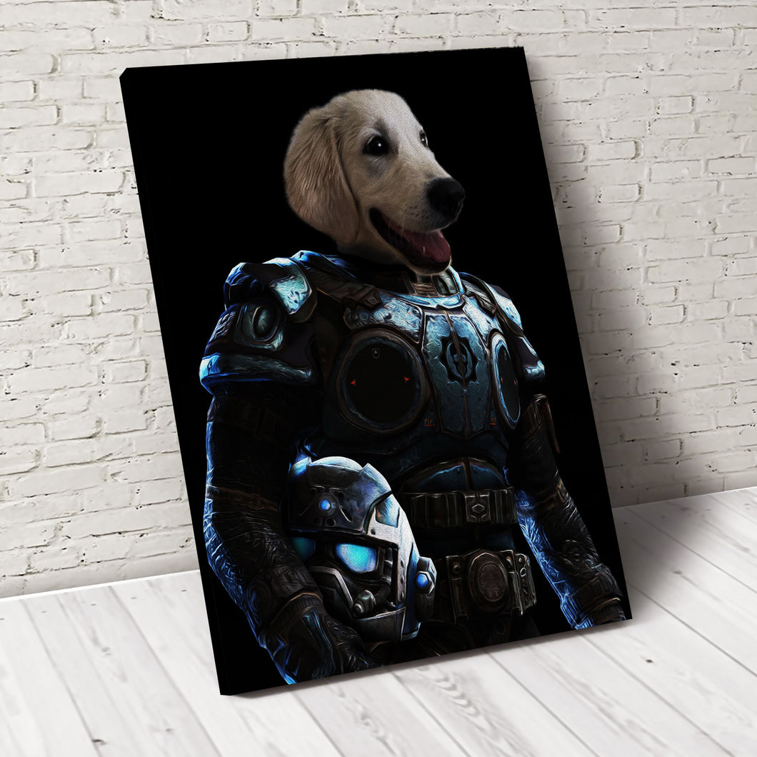 Armed Paw Custom Pet Portrait Canvas - Noble Pawtrait