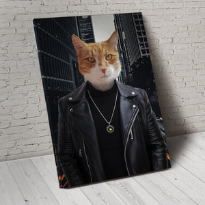 The Leather Rebel Custom Pet Portrait Canvas - Noble Pawtrait
