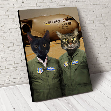 The Duo US Pilots Custom Pet Portrait - Noble Pawtrait