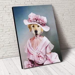 The Rosy Lady Custom Pet Portrait Canvas - Noble Pawtrait