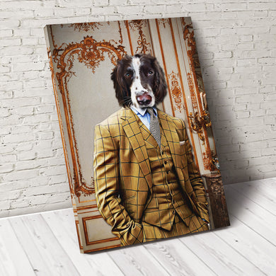 The Brown Suit Custom Pet Portrait Canvas - Noble Pawtrait
