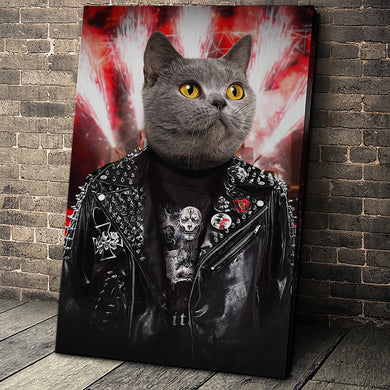The Metalhead Custom Pet Portrait Canvas - Noble Pawtrait