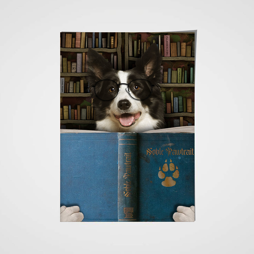 The Book Worm Custom Pet Portrait Poster - Noble Pawtrait