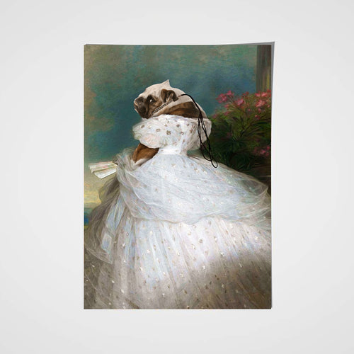 Lady in White Custom Pet Portrait Poster - Noble Pawtrait