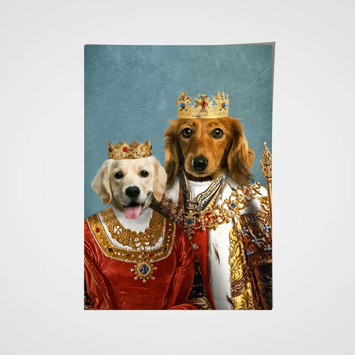 Royal King and Queen Custom Pet Portrait Poster - Noble Pawtrait