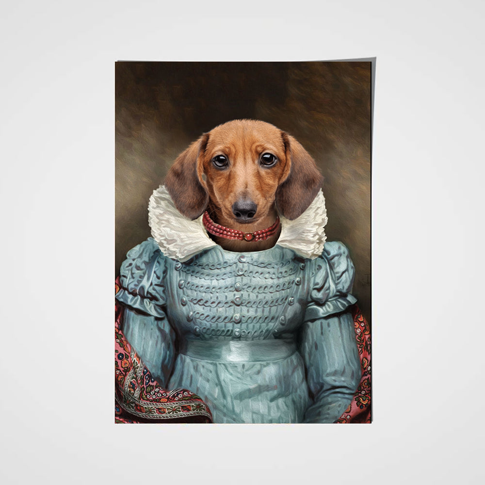 The Red Pearl Lady Custom Pet Portrait Poster - Noble Pawtrait