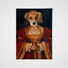 Load image into Gallery viewer, Lady in Orange Custom Pet Portrait Poster - Noble Pawtrait