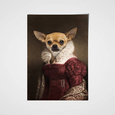 The Lady in Red Custom Pet Portrait Poster - Noble Pawtrait