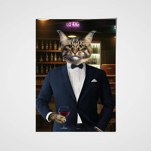 The Navy Suit Custom Pet Portrait Poster - Noble Pawtrait