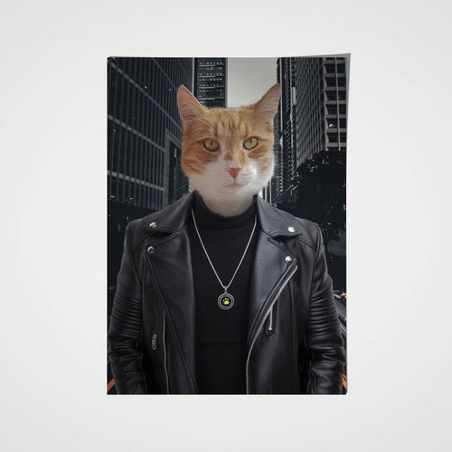 The Leather Rebel Custom Pet Portrait Poster - Noble Pawtrait