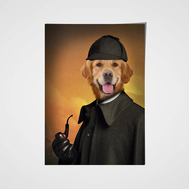 Detective Paw Custom Pet Portrait Poster - Noble Pawtrait