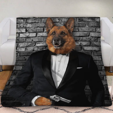 The Secret Agent Custom Pet Blanket - Noble Pawtrait