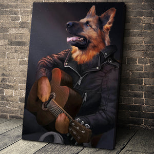 The Guitarist Custom Pet Portrait Canvas - Noble Pawtrait