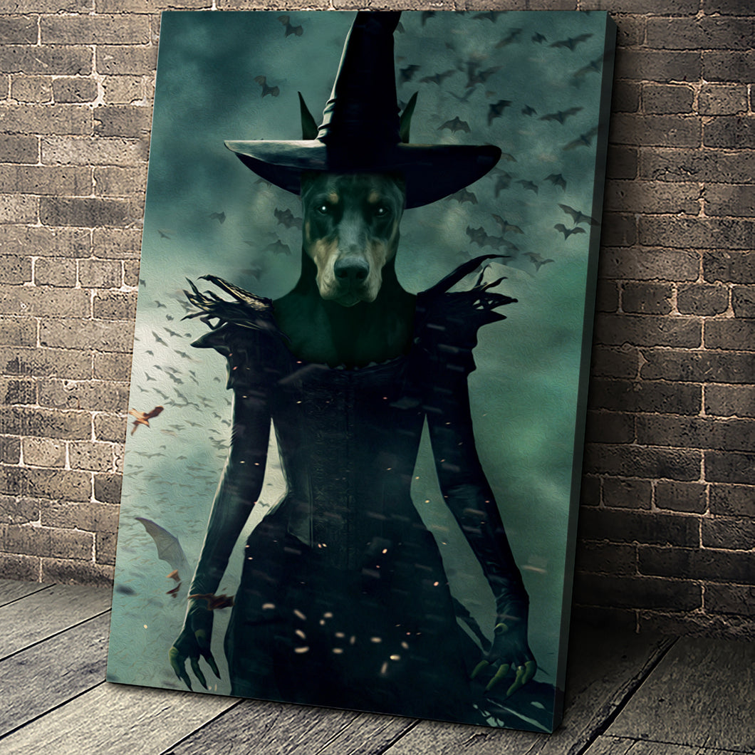 The Witch Custom Pet Portrait Canvas - Noble Pawtrait