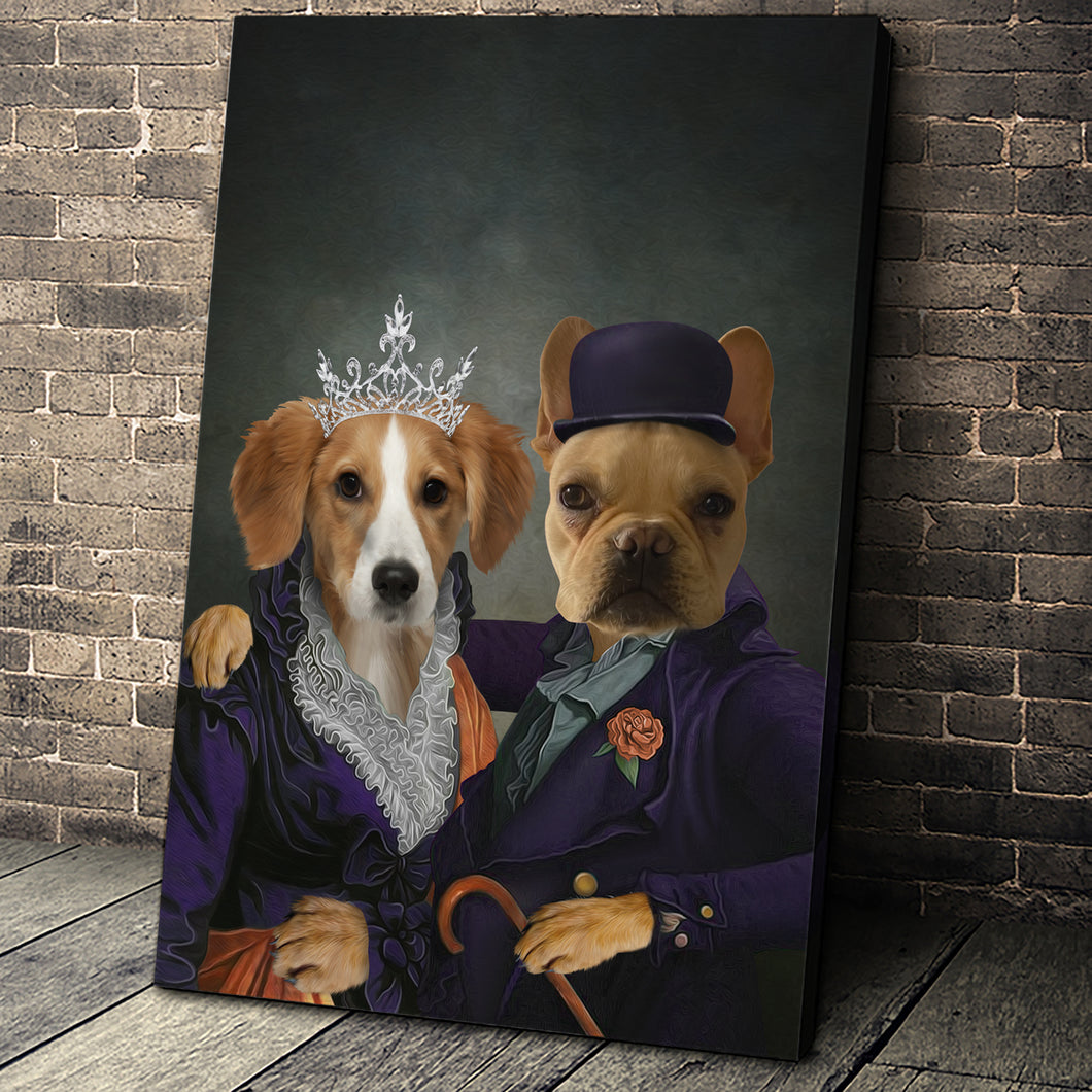Mrs and Mr. Happy Custom Pet Portrait Canvas - Noble Pawtrait