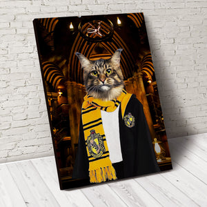 The Wizard Hufflewoof Custom Pet Portrait Canvas - Noble Pawtrait
