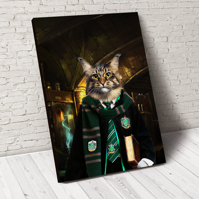 The Wizard Slyfurrin Custom Pet Portrait Canvas - Noble Pawtrait