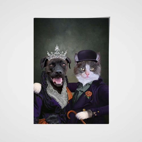 Mrs and Mr. Happy Custom Pet Portrait Poster - Noble Pawtrait