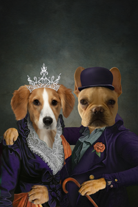 Mrs and Mr. Happy Custom Pet Portrait Digital Download - Noble Pawtrait