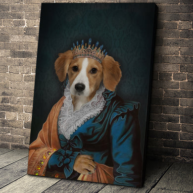 The Elegant Queen Custom Pet Portrait - Noble Pawtrait