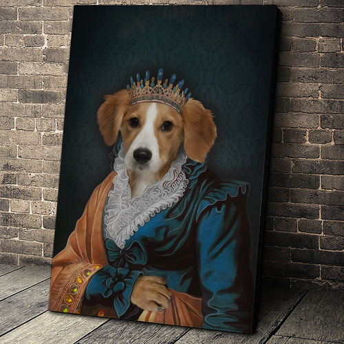 The Elegant Queen Custom Pet Portrait Canvas - Noble Pawtrait