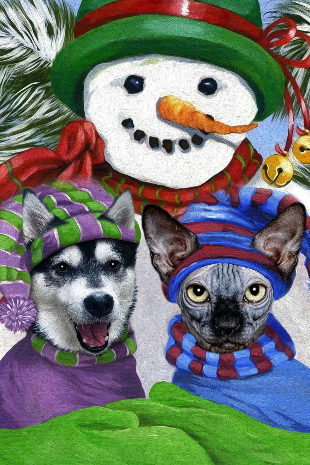 Snowman Friends Custom Pet Portrait Poster - Noble Pawtrait