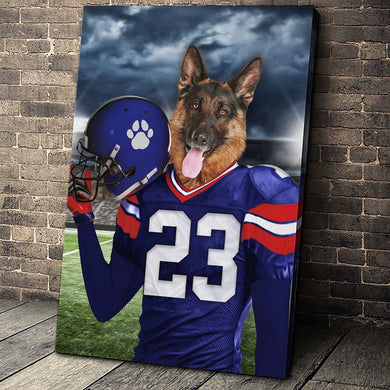 New York Giants Fan Custom Canvas Pet Portrait - Noble Pawtrait