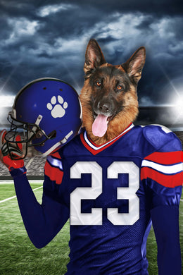 New York Giants Fan Custom Digital Download Pet Portrait - Noble Pawtrait