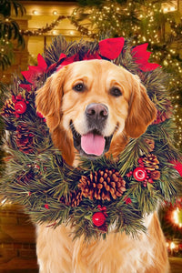Paw in Wreath Christmas Pet Portrait Digital Download - Noble Pawtrait