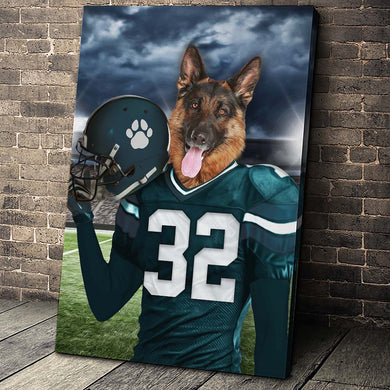 Philadelphia Eagles Fan Custom Canvas Pet Portrait - Noble Pawtrait