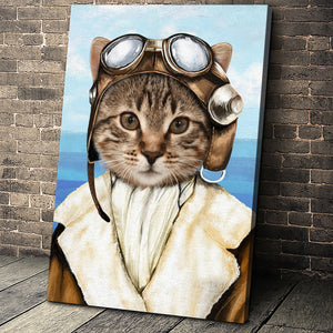 The Female Pilot Custom Pet Portrait - Noble Pawtrait