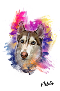 Watercolor Portrait Custom Pet Portrait Digital Download - Noble Pawtrait