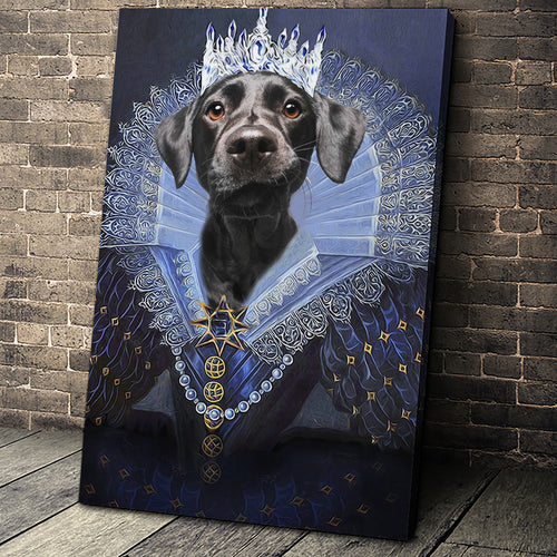 Her Majesty Custom Pet Portrait Canvas - Noble Pawtrait