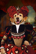 Load image into Gallery viewer, The Red Queen Custom Pet Portrait Digital Download - Noble Pawtrait