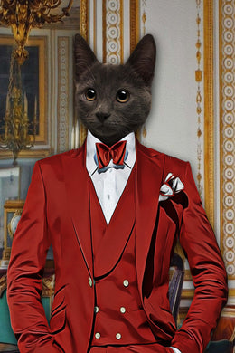 The Red Suit Custom Pet Portrait Digital Download - Noble Pawtrait
