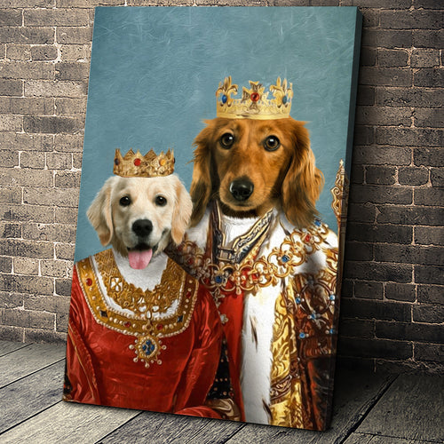 Royal King and Queen Custom Pet Portrait Canvas - Noble Pawtrait