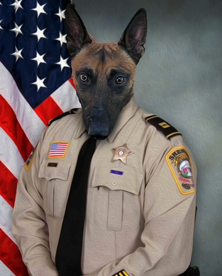 The Sheriffs Officer Custom Pet Portrait Poster - Noble Pawtrait